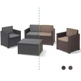 Allibert Lounge-Set MONACO mit Boxtisch, graphit/braun