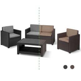 Allibert Lounge-Set MONACO mit Lounge-Tisch, graphit/braun